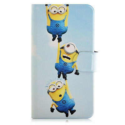 Cartoon Minions Despicable me Card Slot PU Leather Flip Case Cover For iphone 45