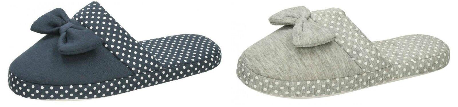 x2R099- Ladies Detail- Flat Mule Slippers- Bow/Spotted Detail- Ladies Grey & Navy- Great Price 61590c