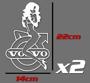 volvo girl logo truck wagon decal sticker x 2 ebay. Black Bedroom Furniture Sets. Home Design Ideas