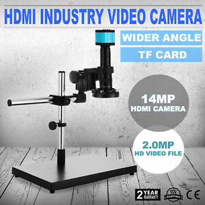 14MP-1080P-USB-HDMI-HD-Industry-Video-Microscope-Set-Camera-C-mount-Lens-Stand