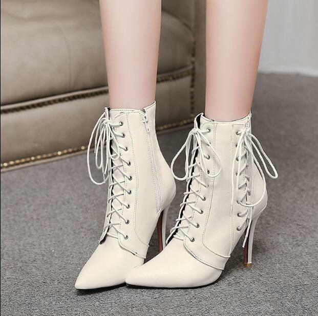 Womens Lace Up Ankle Boots Pointed Toe Roman Stilettos High Shoes Zsell