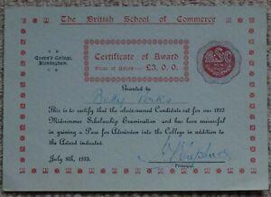 Queen's College Birmingham, British School of Commerce Certificate of Award 1933