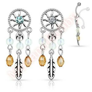 Dream-Catcher-Reverse-Belly-Button-Bar-Navel-Ring-Dangle-Body-Piercing-Jewellery