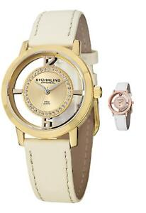 Stuhrling Women's 388L2 Swiss Quartz Watch Set Swarovski crystals W/Extra Strap