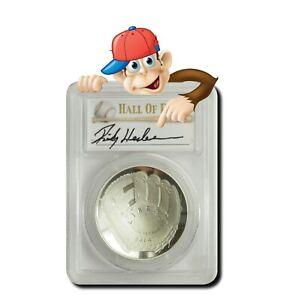 2014-P Baseball HOF Silver $1 -- PCGS PR69 -- Hand Signed By Rickey Henderson