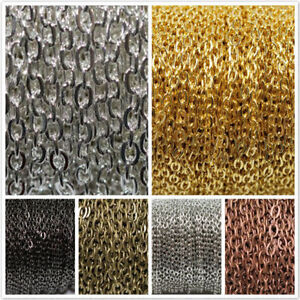 New-1-5-100M-Gold-Silver-Plated-Cable-Open-Link-Iron-Metal-Chain-Findings-3x4mm
