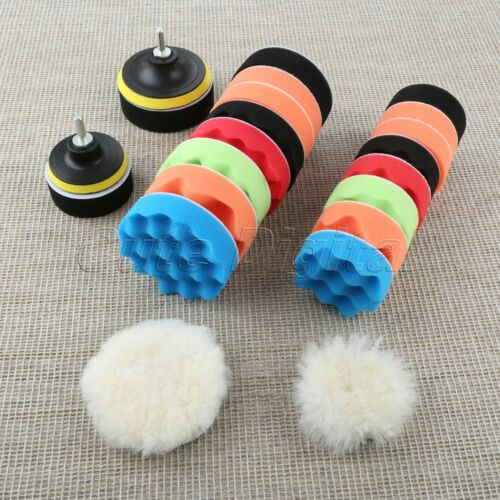 "12Pcs//Set 3/""//4/"" Polishing Pad Kit Car Buffer Cleaning M14 Drill Adapter"