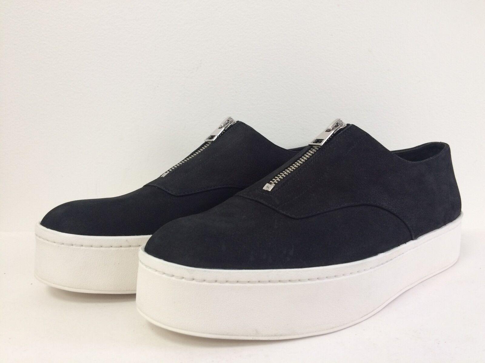 New VINCE Warner Nubuck Leather Platform Slip On Zip Zip Zip scarpe da ginnastica BLK grigio 8.5 9 9.5 70b17f