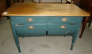 Gentil Image Is Loading Antique Old Finish Possum Belly Baker Table Cabinet