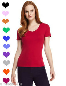 LADIES WOMENS MARKS & SPENCER PURE COTTON V NECK NECK T ...
