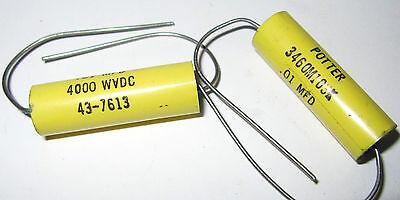 2 Metalized Mylar Capacitor 4kv 01uf Potter 4000v