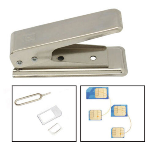 Regular Standard Micro SIM Card To Nano Metal Cutter+2 Adapters For iPhone 5/5s