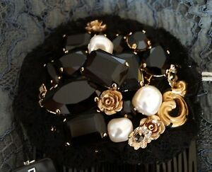 image is loading dolce amp gabbana authentic black crystal embellished hair authentic black crystal