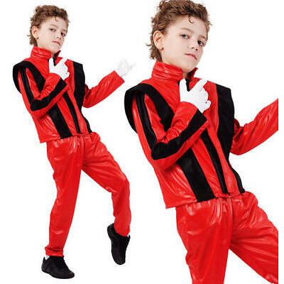 Childrens Kids Fancy Dress Costume Michael Jackson Thriller Outfit 3-10 Yrs