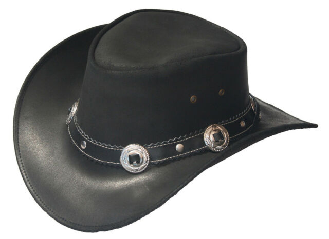 ab3fb4cae14 Black Leather Western Cowboy Hat With Conchos   Rivets Hat Band M ...