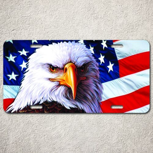 LP0008 Auto Car License Plate America Flag Eagle Home Wall Door Room Decor Gift