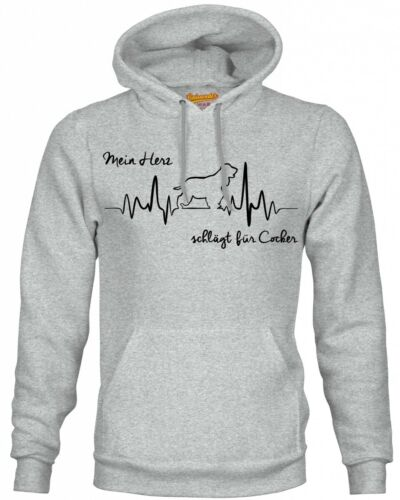 Cocker Spaniel Herz heartbeat Hoodie Sweatshirt Pullover Unisex Hundemotiv