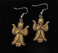 Angel Earrings Antiqued Brass Praying Christmas Easter Celestial Being Angels