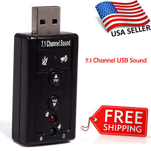 Details about USB 2 0 External 7 1 Channel 3D Virtual Audio Sound Card  Adapter PC Laptop