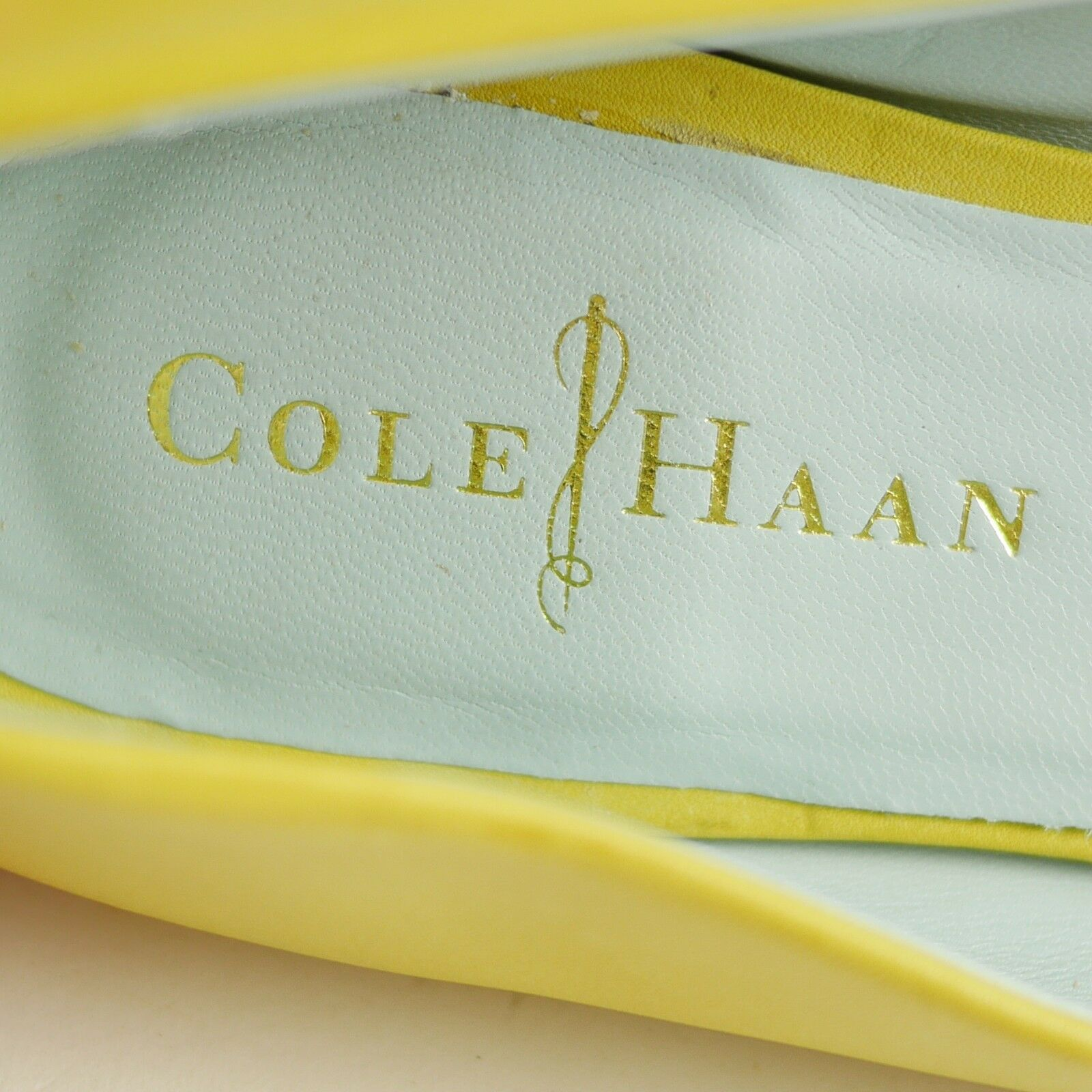 COLE HAAN Yellow Ballet  Blue Pelle Open Toe Ballet Yellow Flats Beautiful Color SIZE 7 9fa073
