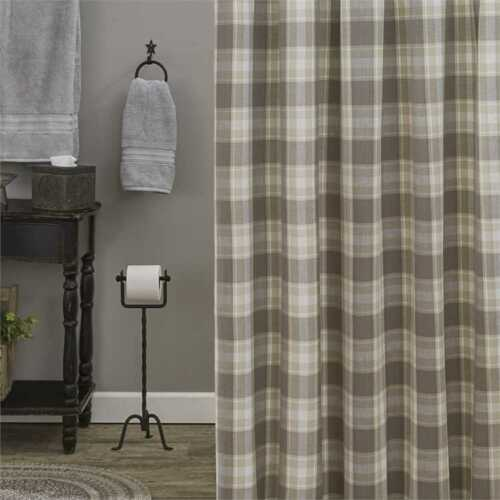 WEATHERED OAK Plaid Shower Curtain Farmhouse Gray Cottage Country Park Designs
