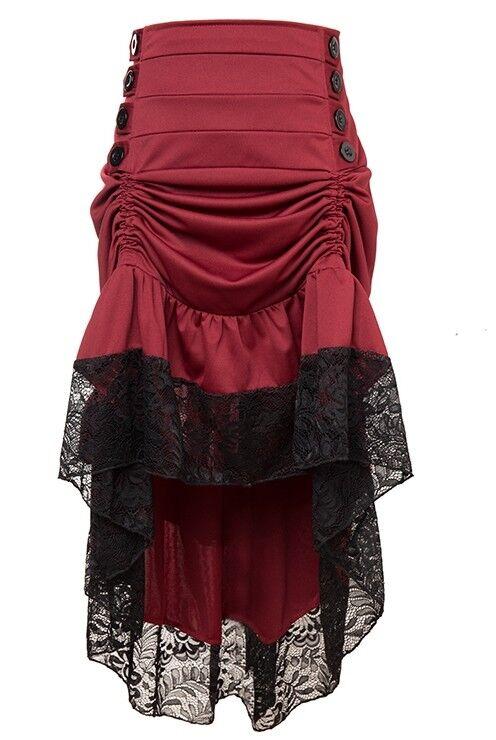 Burgundy Red Victorian Burlesque Steampunk High Lo low Skirt  - Aussie Seller