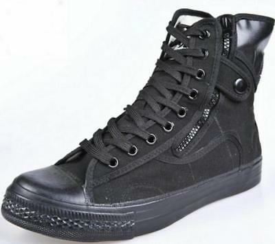 New Mens Lace Up Military High Top Hiking Side Zip Shoes Tactical Ankle Boots Ebay