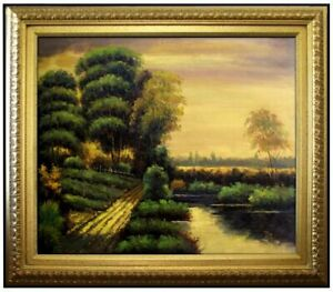 Framed-Quality-Hand-Painted-Oil-Painting-Countryside-Scenery-20x24in