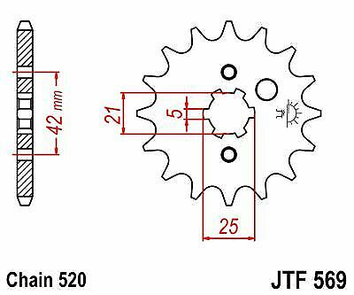 JT Front Sprocket JTF569 12t fits Yamaha YFM125 Grizzly 04-12