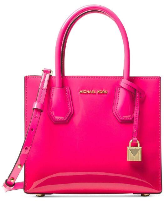 5332ee809797 Michael Kors Ultra Pink Patent Leather Mercer Medium Messenger Satchel