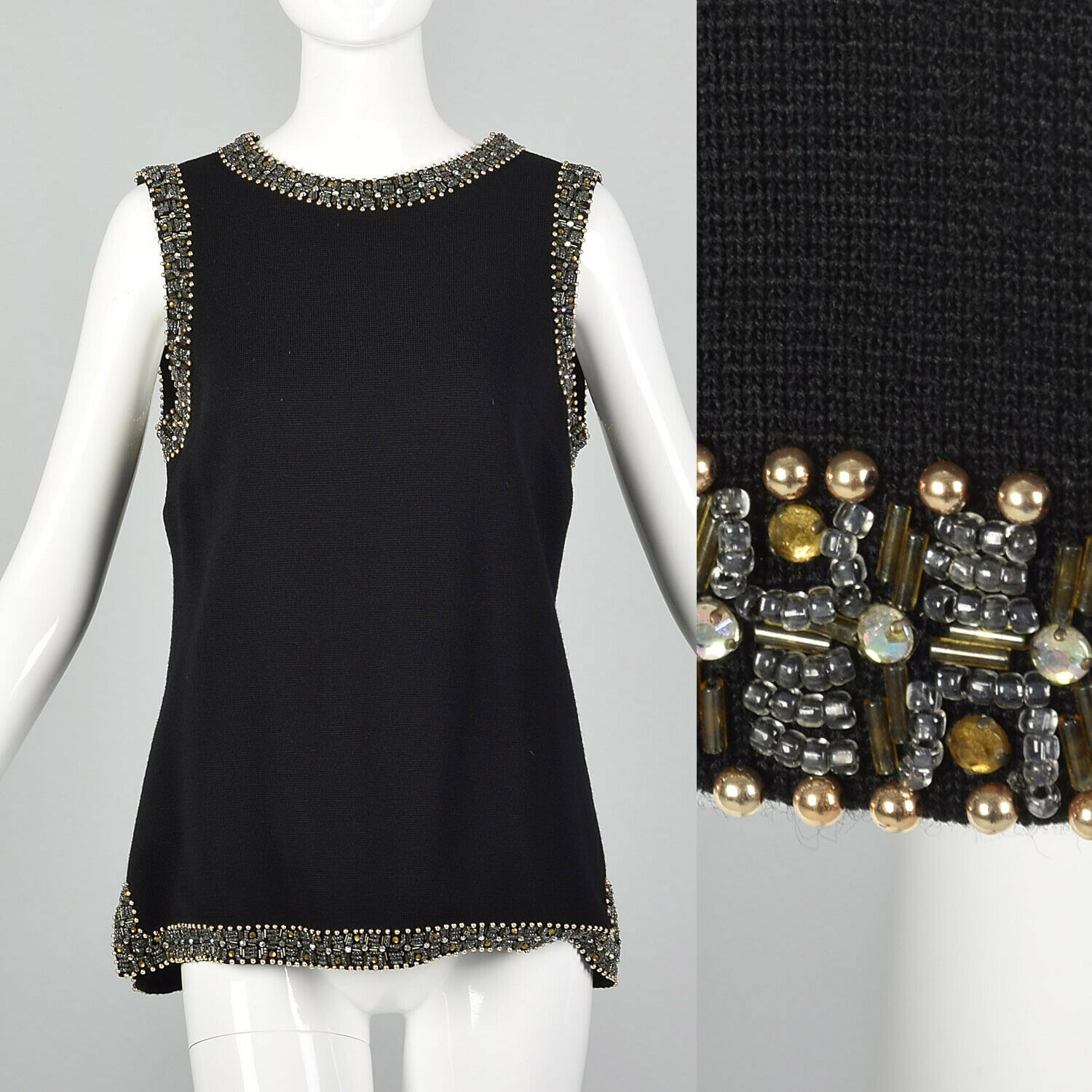 Medium 1960s schwarz Knit Tunic Top VTG Sleeveless Blouse 60s Beaded Large Tank