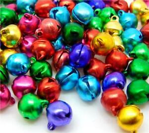 100-SMALL-RINGING-JINGLE-BELLS-CHARMS-8mm-x-6mm-XMAS-MIXED-COLOURS-TOP-QUALITY