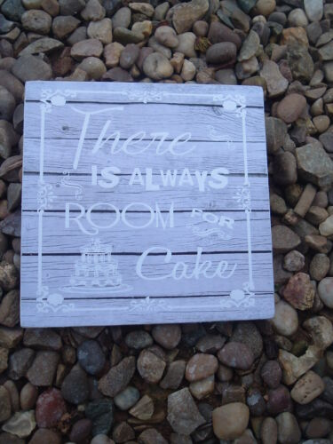 There is always room for cake wedding table signs shabby vintage chic plaque 6x6
