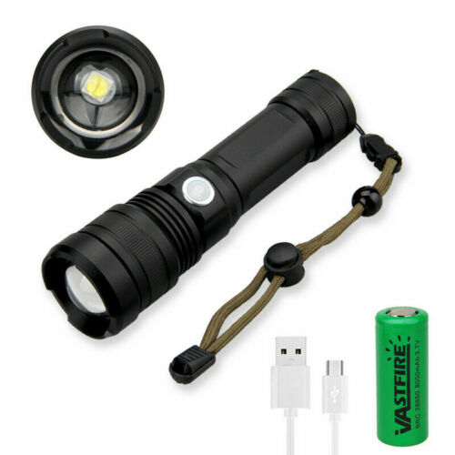 Ultra Light XHP50 LED Flashlight USB Rechargeable Zoomable Torch 5 Modes 26650