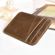 GENUINE LEATHER MENS SMALL ID CREDIT CARD WALLET HOLDER SLIM POCKET CASE BROWN U