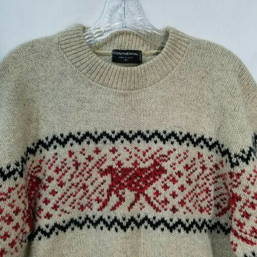 Small Mens Tan Fair Isle Renna Continental Wool Sweater Pullover S Red qzCw8A