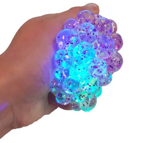 Light Up Squidgy paillettes maille boule SV14511 Multi colured Lights Stress Kids Toy