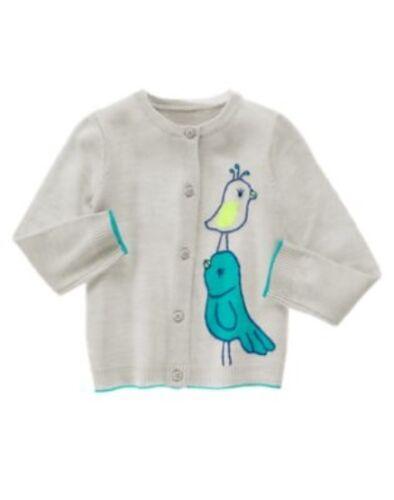 GYMBOREE HAPPY BLUEBIRD GRAY BIRD CARDIGAN SWEATER 12 18 24 2T 3T 4T 5T NWT