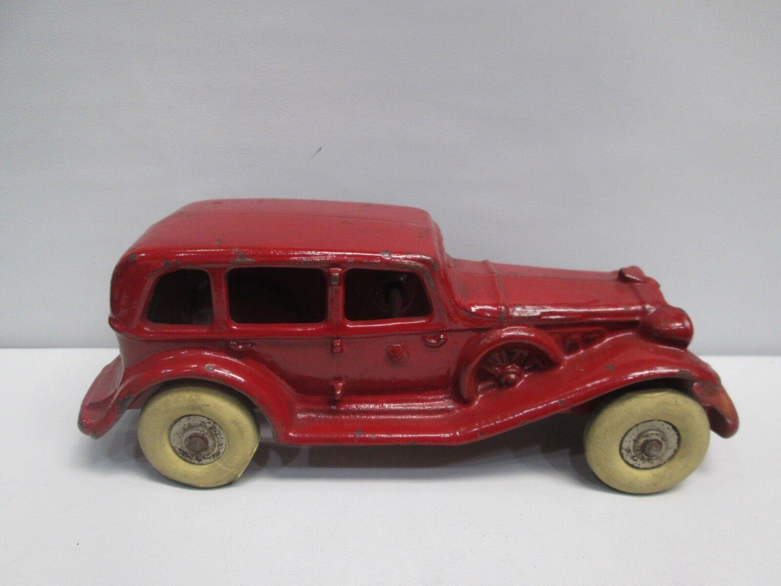 Hubley Arcade antiguo Sedan Rojo-condición Original