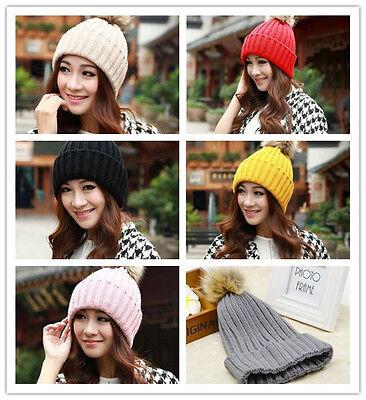 Women Winter Warm Braided Crochet Knitting Hat Girl Beret Ski Beanie Ball Cap