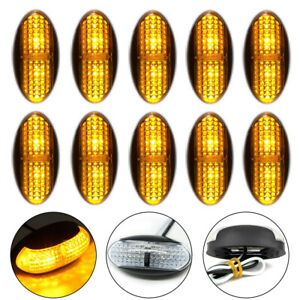 10x-Amber-4-LED-Side-Clearance-Marker-Light-Car-Truck-Tail-Trailer-Lamp-12V-24V
