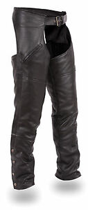 Men's Deep Thigh Pocket Cowhide Chap Fully Lined HD830 For Motorcycle Riders