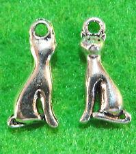 10Pcs. Tibetan Silver 2-Sided CAT Charm Pendant Ear Drops Jewelry Findings C22