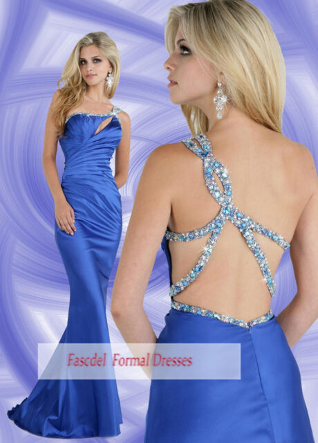 Blue Sexy Mermaid Formal Prom Evening Party Cocktail dress Wedding Bridal gowns