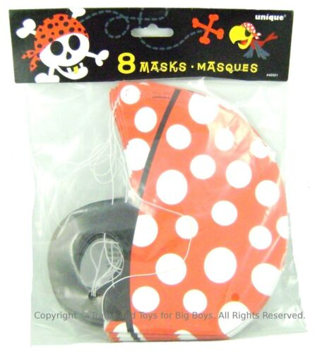 PIRATE MASKS 8 Cardboard Party Favors Simulated Pirates Red Scarf Eyepatch Hat I