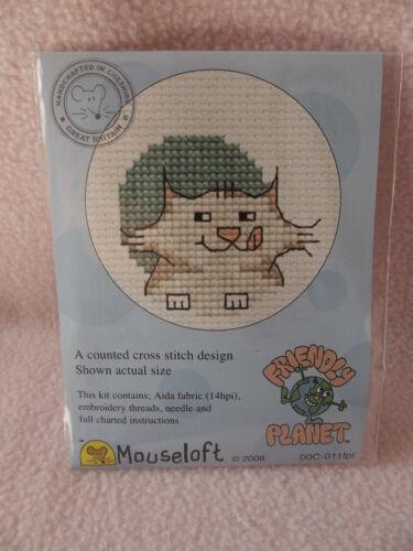 MOUSELOFT STITCHLETS CROSS STITCH KIT~ FRIENDLY PLANET ~ CAT ~ 00C-011fpl