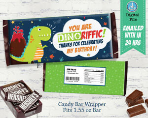 Details About Dinosaur Chocolate Wrapper Birthday Party Candy Bar Wrapper Chocolate Label