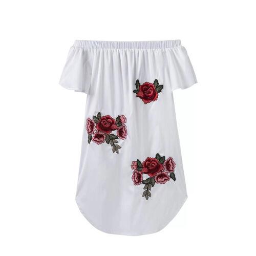 Damen Schulterfrei Minikleider Sommer Party Floral Freizeit Strandkleid Lose Top