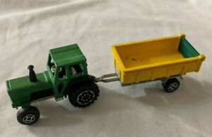 Majorette-Green-Tracteur-Tractor-208-with-Yellow-Trailer-Diecast-Vehicle