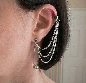 Image Is Loading Punk Safety Pin 3 Chain Ear Cuff Amp